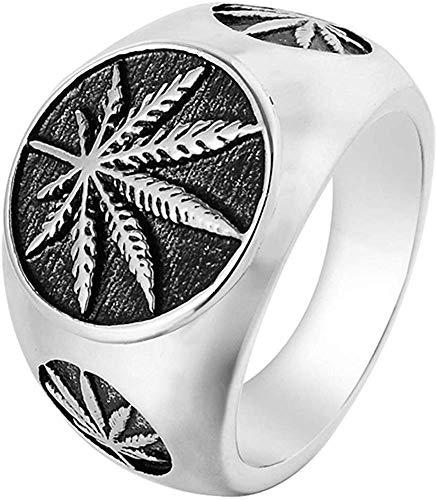 LAMUCH Anillo de Acero Inoxidable Vintage para Hombres Hierba Marihuana Cannabis Hoja Símbolo Rock Punk Hip-Hop Joyería Tamaño EE. UU. 7-15