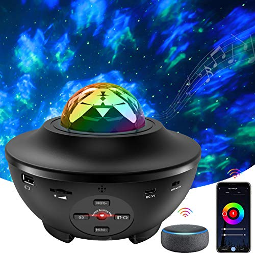 Star Projector Light, Ocean Wave Starry Projector LED Nebula Ambiance Light with 21 Lighting Modes, Bluetooth Speaker, Sound-Activated, Remote Control for Bedroom Party Birthday Wedding Home Theatre