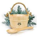 Sauna Eimer mit Kelle aus 100% nordischer Fichte - Hochwertiges Sauna Zubehör - Einsatz, Hanftrageseil & Gratis E-Book - Wellness Aufguss Komplett Paket - Saunaeimer Set (Saunaeimer + Kelle)