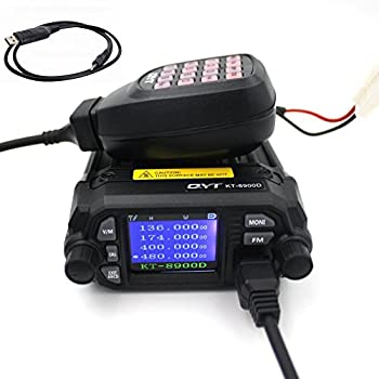 Mini Car Radio QYT KT-8900D 136-174/400-480MHz Dual Band Quad Dsiplay 25W Mobile Transicever KT8900D with Programming Cable