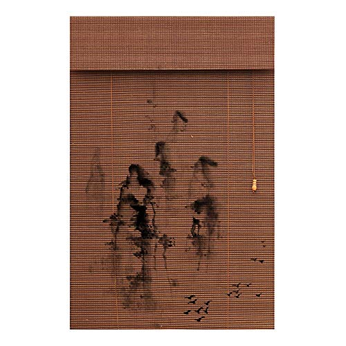 JIAYUAN Rolgordijnen Window Shades van Binnenlandse Roman Shades Privacy stoffen scherm Printed Bamboe Roman Shade met 6 Inch Valance, Maten Beschikbaar (Size : 75X225CM)
