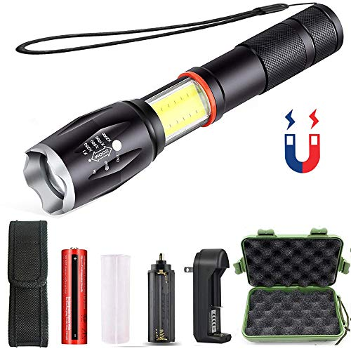 LED Flashlight,iBester Tactical COB Lantern+ Flashlight in-1with Zoom & Magnetic Base As Seen On TV Taclight LED Flashlight Lantern with Battery & Charger & Holster Included
