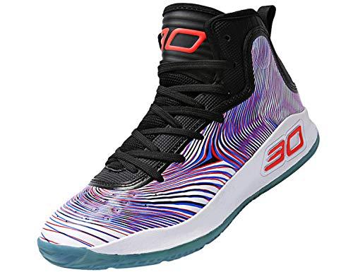 SINOES Zapatillas de Baloncesto para Hombre, Botas de Baloncesto de absorción de Choque de Rendimiento Zapatillas de Deporte Ligeras y Transpirables Al Aire Libre Suave