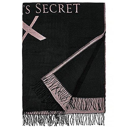 Victoria's Secret Soft Cozy Throw Blanket Black pink VS logo Fringe