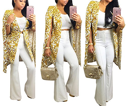 Women's Girl Casual Stylish Hip Hop Split Sleeve Printed Short Blazer Jacket Coat Cape Cloak Party Clubwear Yellow S