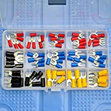 Electronics-Salon 15 Types Spade Fork Crimp Wire Terminal Connector Assortment Kit, Red 19A, Blue 27A, Black 37A, Yellow 4...