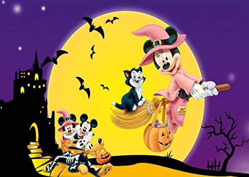 Halloween Photography Backdrops 7x5ft Yellow Full Moon Bats Cartoon Background Themed Party Wallpaper Vinyl Backdrop Photo Booth Props