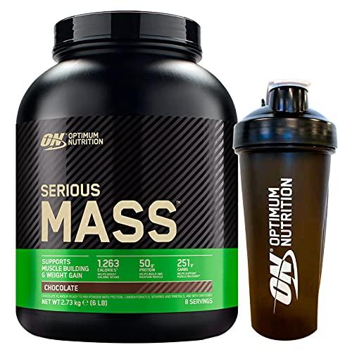 Optimum Nutrition Serious Mass Gainer Proteine Whey in Polvere per Aumentare la Massa Muscolare con Creatina Glutammina e Vitamine Cioccolato 2,73kg 8 Porzioni + SHAKER