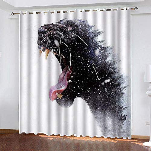 HLL Blackout Curtains Modern Landscape creativity HD printing Polyester Punch shading cloth For Living Room Bedroom Window Drapes 2 Panel Set