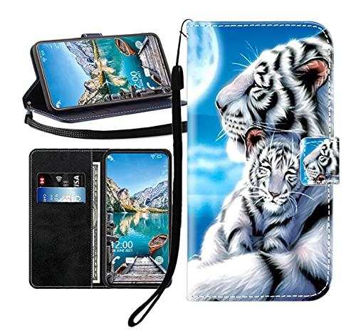 Sunrive Kompatibel mit LG V30/LG V30 Plus/LG V30S Hülle,Magnetisch Schaltfläche Ledertasche Schutzhülle Etui Leder Hülle Handyhülle Tasche Schalen Lederhülle MEHRWEG(Tiger umarmen B1)
