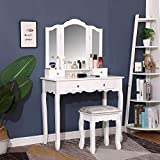 Vanity Set with Tri-Folding Mirrors & 4 Drawers, 35.5' Large Makeup Dressing Table with Cushioned Stool, Vanity Desk Bedroom Furniture for Girls Women, White