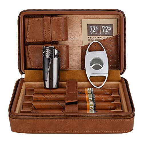 CiTree Cigar Travel Humidor, Cedar Wood Leather Cigar Case with Cigar Accessories Gift Set, Brown
