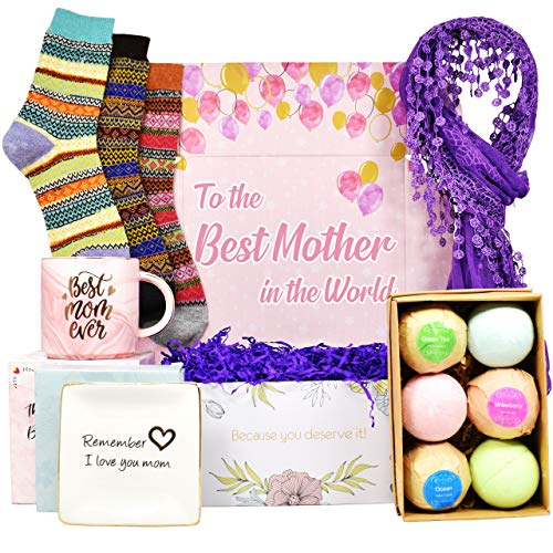 Best Birthday Gift for Mom. Includes: Set Of 6 Bath Bombs, Ring...