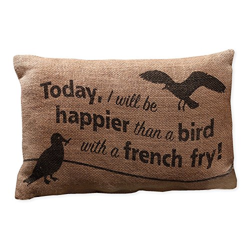 Country House Collection Primitive Burlap Jute 12 x 8 Throw Pillow (Happier Than a Bird with a French Fry)