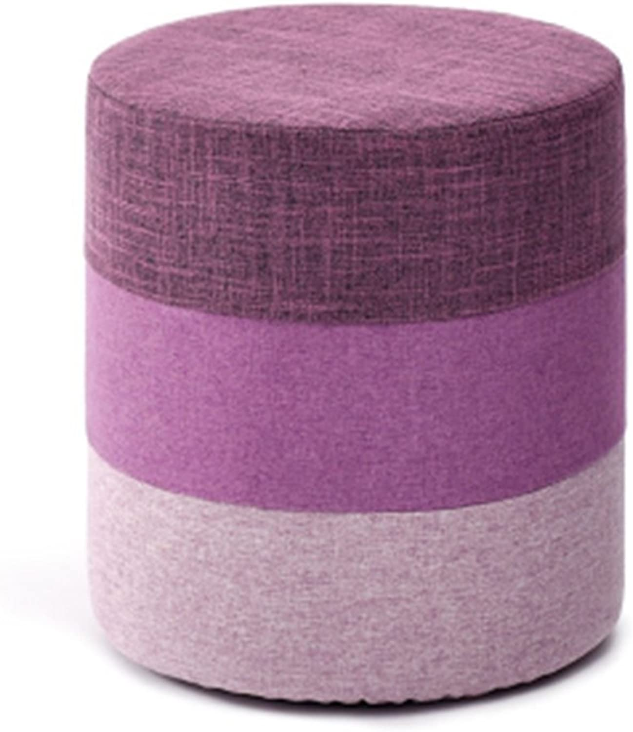 DQMSB Fashion Fabric Stool Round Stool Sofa Stool Adult Bench Stool Creative Storage Stool Change shoes Stool Foot Stool (color   B)