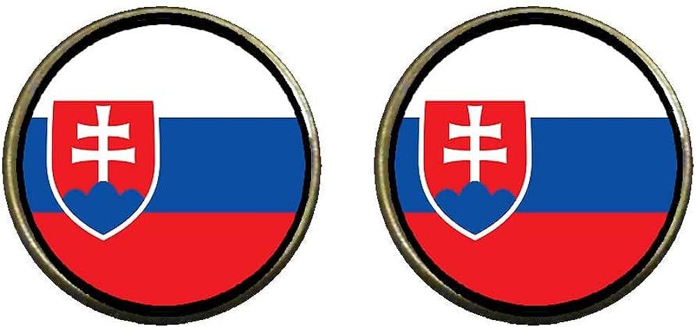 GiftJewelryShop Bronze Retro Style Slovakia flag Photo Clip On Earrings 14mm Diameter