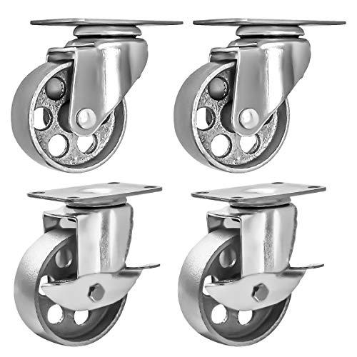 """4 All Steel Swivel Plate Caster Wheels w Brake Lock Heavy Duty High-gauge Steel Gray (3"""" Combo)"""
