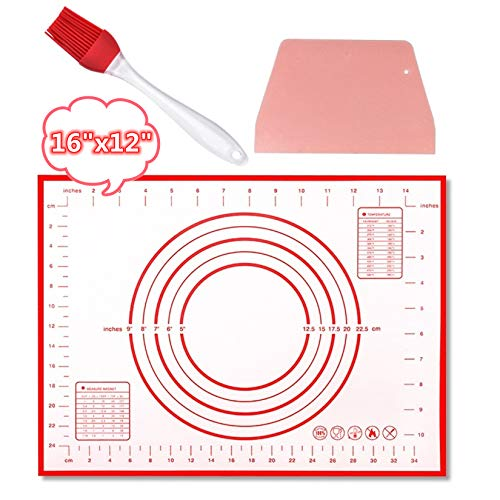 Silicone Baking Mat for Pastry Dough, Non-Stick Measurements Kneading Mats with Scraper, Easy Clean Rolling Dough Mat for Making Cookies,Macarons,Pizza (16x12')