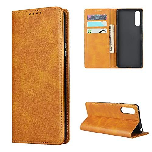 Copmob Hülle Sony Xperia 10 II,Premium Flip Leder Brieftasche Handyhülle,[3 Kartensteckplatz][Ständerfunktion][Magnetverschluss],Ledertasche Schutzhülle für Sony Xperia 10 II - Hellbraun