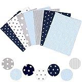 loozykit Baumwollstoff Stoffpaket für Patchwork DIY 7 Stücke je 50 cm x 80 cm Stoffreste zum Nähen 100% Baumwolle DIY Baumwolltuch Floral Bedruckter (A-Blau)
