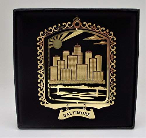 I Love My State Baltimore Brass Ornament Black Leatherette Gift Box