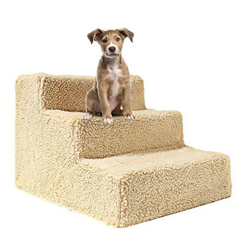Loveinwinter Escaleras para Perros,45X35X30CM Escalera para Perros Y Gatos, Escaleras De 3 Pisos para Escaleras Fáciles para Perros,Lavable