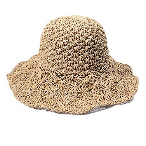 para Mujer Sombrero de Sol Primavera Verano Panamá Jack Sombrero Playa Sol Sombrero de Paja de ala Grande Ajustable de Ganchillo Sombrero de Playa