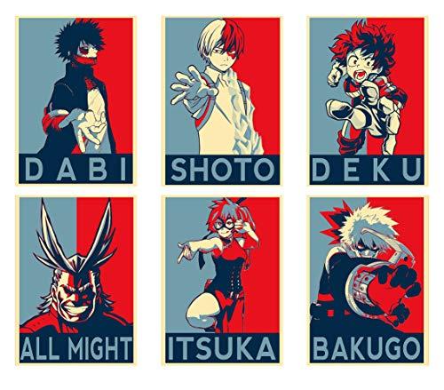 Wall Art My Hero Academia Personaggi Anime Shoto Deku All Might Itsuka Dabi Bakugo Poster Stampe Set di 6 Formato A4 (21 cm x 29 cm) Senza cornice Grande Regalo