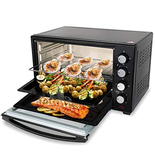 VINGO 48 Liter Minibackofen mit Umluft,2000 Watt Mini Pizza-ofen,Drehbar Drehspieß,Innenbeleuchtung,herausnehmbares Krümelblech,Timer