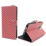 König Design Handyhülle Kompatibel mit Huawei G8 Handytasche Schutzhülle Tasche Flip Hülle mit Kreditkartenfächern - Polka Dot Weiße Punkte Rot
