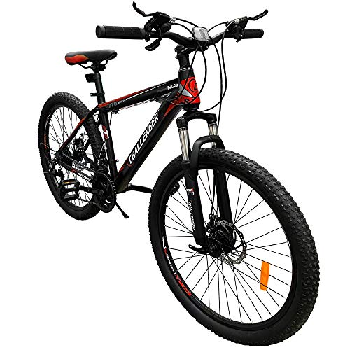 Challenger Red Mountain Bike 26 Inch for Adult and Youth, Lightweight, 21 Speed Bicycle, Front Suspension, Easy Assembly