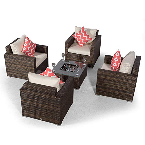 Giardino Sydney 4 Seater Brown Rattan Conversation Sofa Set with Drinks Cooler Coffee Table | Rattan Garden 4 Seat Lounge Chair Set with Ice Bucket Cooler & All Weather Furniture Covers