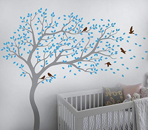 Tree Wall Decal Large Tree Wall Sticker Forest Mural Tree Blowing in The Wind Tree Wall Decals Wall Sticker Nursery Decals 099 (Grey, Ice Blue, Brown)