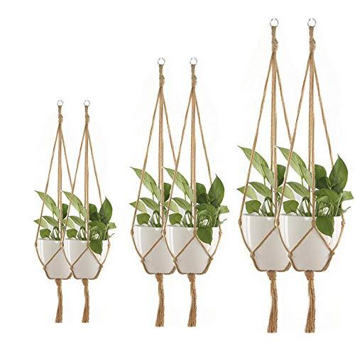 6 Piezas,Colgador Plantas Techo,Colgadores de Macramé para Plantas,Colgador para Plantas,Soporte...