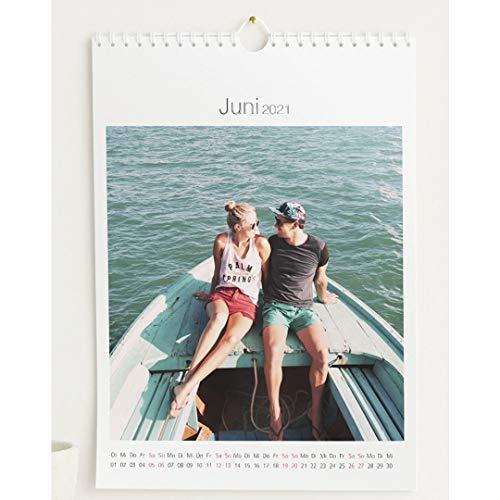 Fotokalender 2021 mit Relieflack, Zeitlos, Wandkalender mit persönlichen Bildern, Kalender für digitale Fotos, Spiralbindung, DIN A4 Hochformat