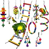 Bojafa Bird Parrot Toys, Budgie Toys 10-Pack Bird Parrot Ladder Hanging Bell Swing Cage Toys- Budgie, Cockatiel, Conure, Finch, Small Parakeet, African Grey Parrot, Canary