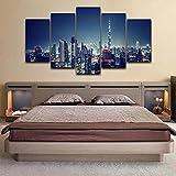 IJNHY 5 Piezas Cuadro sobre Lienzo De Fotos Horizonte De Dubai Emiratos Árabes Unidos Lienzo Impresión Cuadros Decoracion Salon 150×80Cm Cuadros para Dormitorios Modernos Mural Pared Listo Colgar