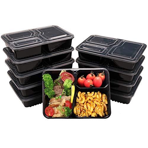 OITUGG 3 Scomparti Contenitori Alimentari con Coperchio, Impilabile, Lavabile in Lavastoviglie e Microonde, Riutilizzabile Set di Scatole da Pranzo-10 Pack,by