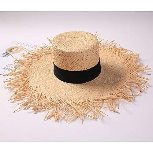 TSP Sombrero de rafia negro para mujer, de ala ancha, sombrero de paja Panamá, sombrero de mujer para vacaciones al aire libre, sombrero de playa (color: como en la imagen).