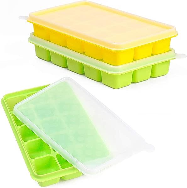 冰块托盘 CASELAND Easy Release 2 Pack Silicone 15 冰盘带防溢可拆卸盖子可堆叠耐用洗碗机冰块模具安全 FDA 认证不含 BPA