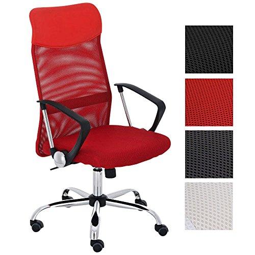 CLP Silla de Oficina Washington Regulable en Altura I Silla de Ordenador Tapizado en Cuero Sintético y Respaldo en Red I Color: Rojo
