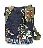 Chala Patch Cross-Body Women Handbag, Blue Denim Canvas Messenger Bag - Piano - Denim