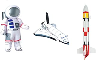 3 Outer Space PARTY DECORATIONS - Inflatable ROCKET - ASTRONAUT & SPACE SHUTTLE Inflate TOYS - BIRTHDY Party DECOR/Science-