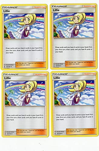 Lillie 125/156 - Sun Moon Ultra Prism - Trainer Card Set - Supporter 4 Card Lot (Playset)