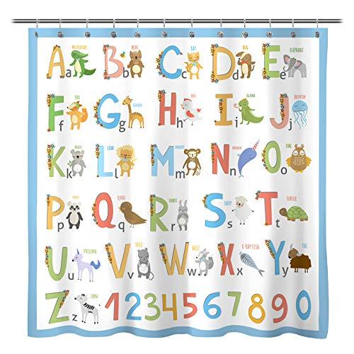 Sunlit Alphabet Fabric Shower Curtain for Kids ABC...