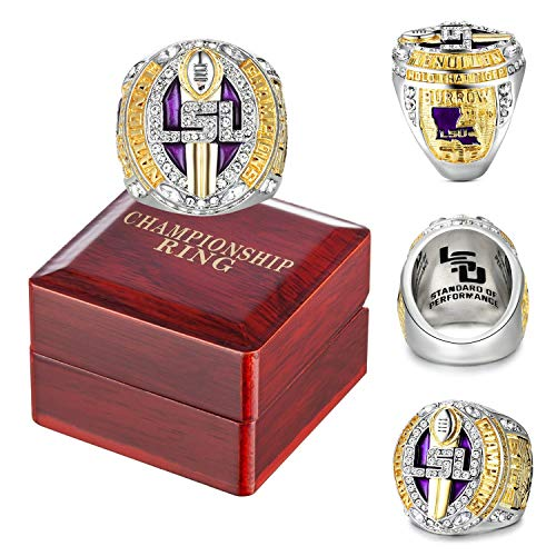 2019 LSU Champions Ring Replica with Championship Ring Wooden Box for Fans Gift(Size 11