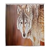 BIGJOKE Duschvorhang, Winter-Tier-Wolf, schimmelresistent, wasserdicht, Polyester, 12 Haken, 167,6 x 182,9 cm, Heimdekoration