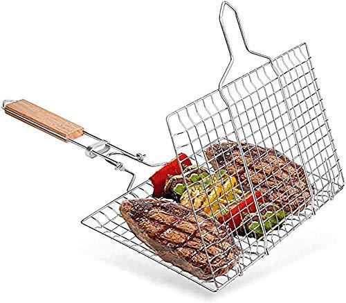JSL Cesta plegable para barbacoa portátil para parrilla, herramienta de parrilla para pescado, verduras, carne, camarones y chuletas de acero inoxidable 304 duradero (color plateado)