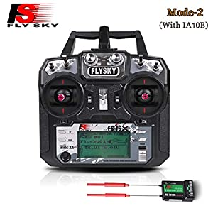 Flysky FS-i6X 10CH 2.4GHz AFHDS RC Transmitter with FS-iA10B Receiver For FPV Racing RC Drone Quadcopter(MODE-2 Left Hand Throttle)