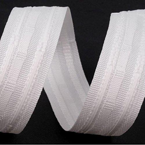 BIG-SAM - Gardinen Faltenband - 25mm breit - 5, 10 oder 25 Meter am Stück geschnitten - Farbe: Weiß (5 Meter, Weiß)